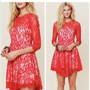 Free People Floral Mesh Lace Night Out Dress Sz 8